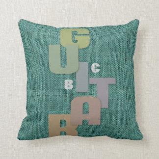 Monogrammed Guitar Typography on Green Burlap Throw Pillow
