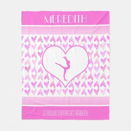 Monogrammed Gymnastics Pink Watercolor Hearts Fleece Blanket