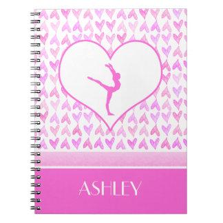 Monogrammed Gymnastics Pink Watercolor Hearts Notebook