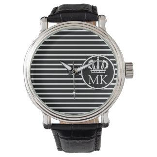 Monogrammed H Striped Royal Black Watch