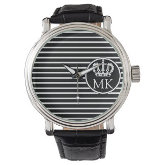 Monogrammed H Striped Royal Black Wristwatch