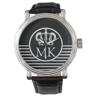 Monogrammed Half Striped Royal Black Watch