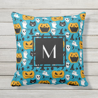 Monogrammed Halloween Creatures Illustration Throw Pillow