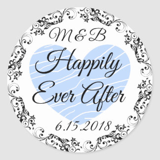 Monogrammed Happily Ever After Wedding Stickers