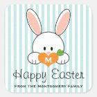 Monogrammed Happy Easter Bunny Seals Blue