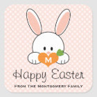 Monogrammed Happy Easter Bunny Seals Pink