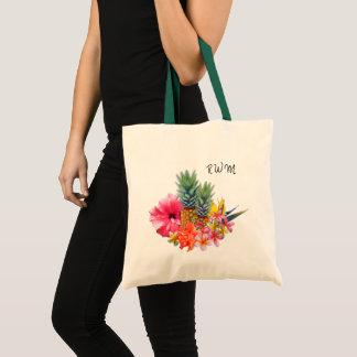 Monogrammed Hawaiian Flowers Pineapples Design Bag