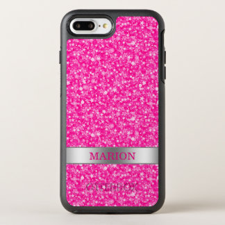 Monogrammed Hot Pink And White Glitter OtterBox Symmetry iPhone 7 Plus Case