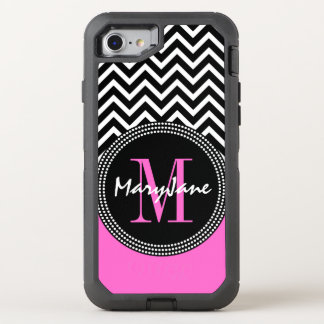 Monogrammed Hot Pink Chevron Chic OtterBox Defender iPhone 7 Case