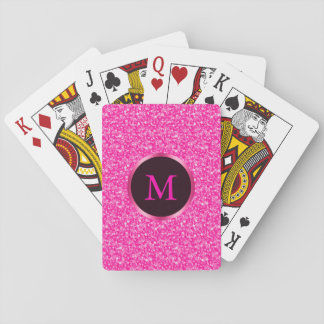 Monogrammed Hot Pink Glitter Playing Cards