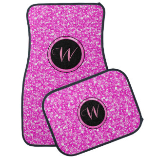 Monogrammed Hot Pink Glitter print Car Liners