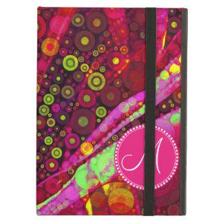 Monogrammed Hot Pink Lime Circle Mosaic iPad Air Cover