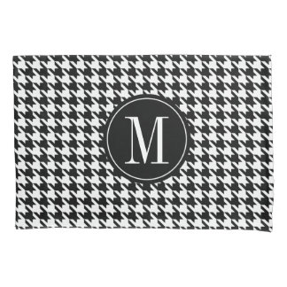 Monogrammed houndstooth pattern pillowcase cover