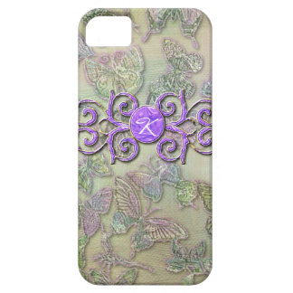 Monogrammed  I Phone 5 Case Purple Butterflys iPhone 5 Covers