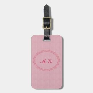 Monogrammed in Pink-Two Initials+Address/2 Sided Luggage Tag