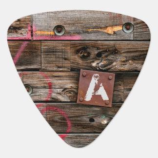 Monogrammed Industrial Rustic Wood Pattern Guitar Pick