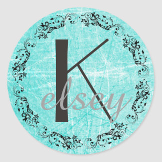 Monogrammed Initial Black and Teal Letter Sticker