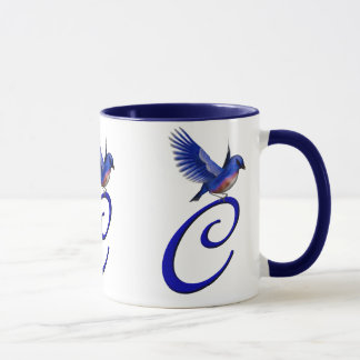 Monogrammed Initial C Elegant Bluebird Mug