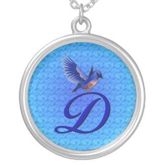 Monogrammed Initial D Bluebird Design Necklace