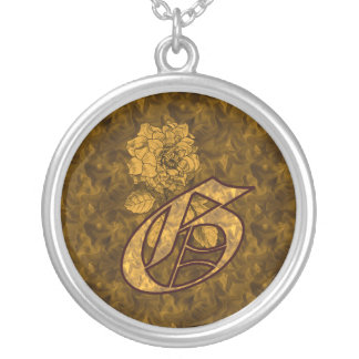 Monogrammed Initial G Gold Peony Necklace