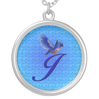 Monogrammed Initial J Bluebird Design Necklace