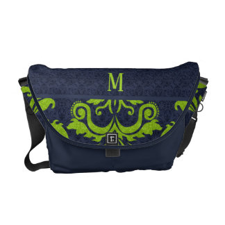 Monogrammed Initial Navy Blue and Green Damask Commuter Bag