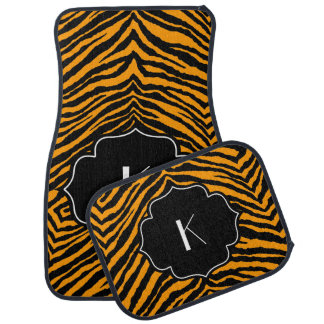 Monogrammed Initial Orange Black Tiger Stripe Car Floor Carpet