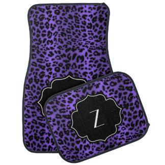 Monogrammed Initial Purple Leopard Animal Print Car Mat
