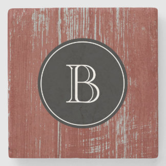 Monogrammed Initial | Rustic Red Barn Wood Stone Coaster