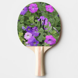 Monogrammed Initials Girly Purple Flowers Spring Ping Pong Paddle