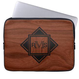 Monogrammed Initials   Mahogany Wood Grain Pattern Laptop Sleeve