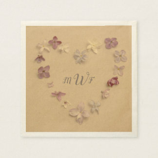 Monogrammed Initials with Heart Shaped Flower Ring Napkin