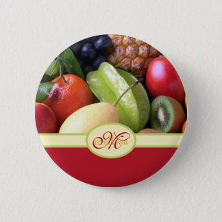Monogrammed Juicy Natural Delicious Fresh Fruits 2 Inch Round Button