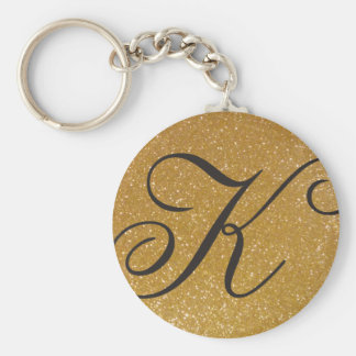 Monogrammed keychain with sparkly gold glitter