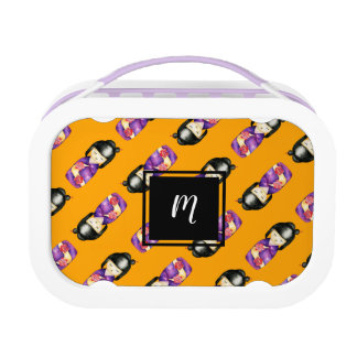 Monogrammed Kokeshi Watercolor Painting Pattern Lunch Box