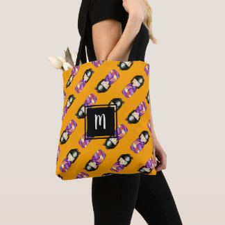 Monogrammed Kokeshi Watercolor Painting Pattern Tote Bag