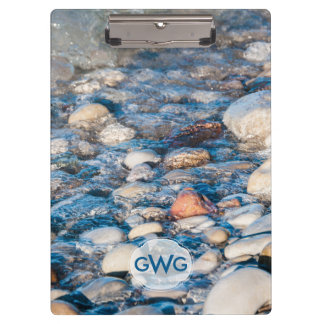 Monogrammed Lake Shore Scene and Underwater Stones Clipboards