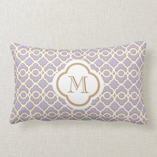 Monogrammed Lavender and Gold Moroccan Lumbar Pillow