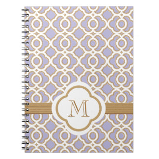 Monogrammed Lavender and Gold Moroccan Note Book