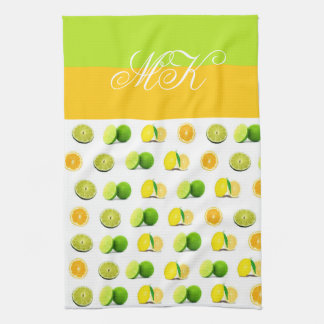 Monogrammed Lemon, Lime and Orange Dishtowel Kitchen Towel