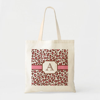 Monogrammed Leopard Print Tote Bag