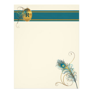 Monogrammed Letter with Peacock Theme Letterhead