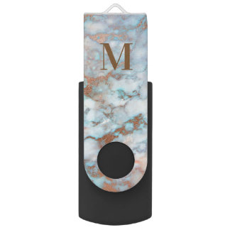 Monogrammed Light Blue And Gray Marble USB Flash Drive