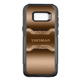 Monogrammed Light Brown Brushed Metal Look OtterBox Commuter Samsung Galaxy S8+ Case