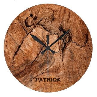 Monogrammed Light Brown Wood Design Large Clock
