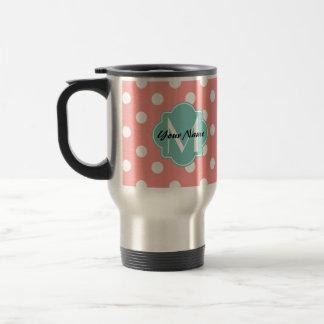 Monogrammed Light Coral Polka Dots Pattern Stainless Steel Travel Mug