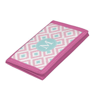 Monogrammed Light Pink Mint Diamonds Ikat Pattern Tri-fold Wallet