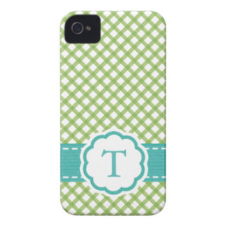 Monogrammed Lime Green and Aqua iPhone 4 Case