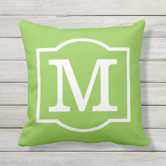 Monogrammed | Lime Green and White Throw Pillow