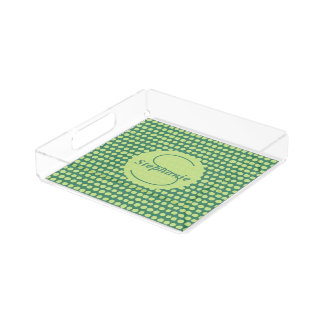 Monogrammed Lime Green Painterly Polka Dots Serving Tray